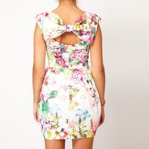 ASOS Floral Bow Cocktail Dress w Cocoon Skirt